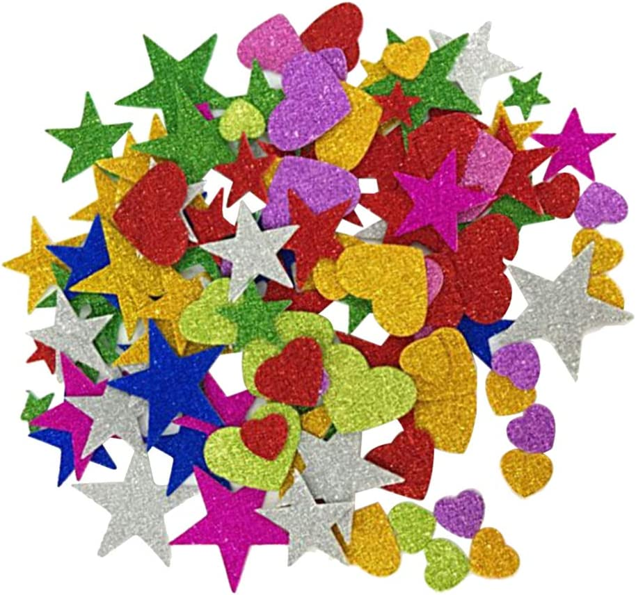 STOBOK Glitter Foam Stickers Glitter Star and Heart Shape Stickers Self Adhesive Art Craft for Home Party Decoration Pack of 260