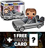 Delorean w/ Marty: Funko POP! Rides x Back to the Future Vinyl Figure + 1 FREE Classic Sci-fi & Horror Movies Trading Card Bundle [34010]