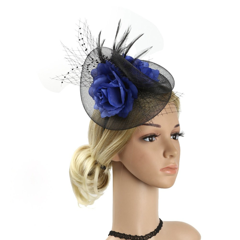 ACTLATI Elegant Flower Mesh Feather Cocktail Hat Headband Kentucky Derby Wedding Tea Party Headwear