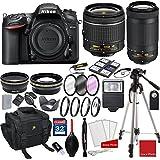 Nikon D7200 DX-format Digital SLR w/AF-P DX NIKKOR 18-55mm f/3.5-5.6G VR Lens, AF-P DX NIKKOR 70-300mm f/4.5-6.3G ED + 3pc Filter Kit + Professional Accessory Bundle
