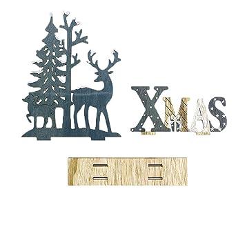 Sayla Weihnachten Dekoration Weihnachtsh/ölzerne Weihnachtsmann-Elch-Schneemann-Festival-Verzierungs-Ausgangsdekor