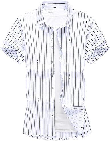 Camisa Casual a Rayas para Hombre Moda Simple Camisa de Manga Corta de Gran tamaño Masculina 5XL 6XL 7XL: Amazon.es: Ropa y accesorios