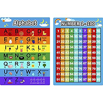 Bememo Alphabet Letters Chart And Numbers 1 100 2 Pieces Educational Posters Preschool Learning For Toddlers Kids