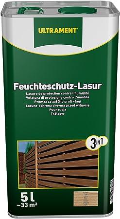 Ultrament 68248980195208 - Barniz de protección total 3 en 1 para madera, color teca (5 L): Amazon.es: Bricolaje y herramientas