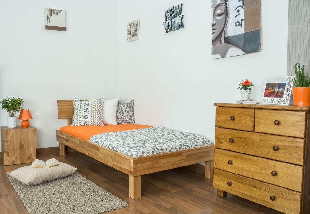 Roble Macizo Madera - Estructura de cama 100 x 200 cm: Amazon.es ...