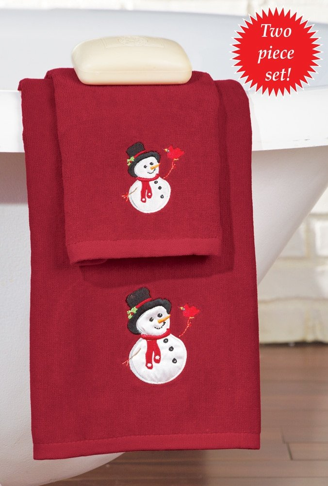 Embroidered Holiday Snowman Towel Set. Extraordinary Christmas Bathroom Decorations   Unique Christmas