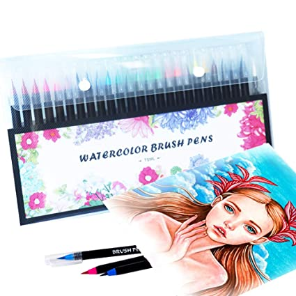 Real Brush Pens 24 Colors for Watercolor Painting w// Flexible Nylon Brush Tips