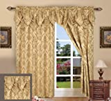 """Elegance Linen Luxury Jacquard Curtain Panel Set with Attached Valance 55"""" X 84 inch (Set of 2), Gold"""
