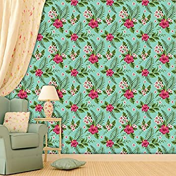 Buy Printelligent Green And Pink Floral Print Theme Home Wallpaper Wall Decor Self Adhesive Wallpaper Online At Low Prices In India Amazon In