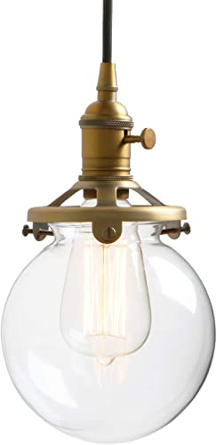 Permo Vintage Industrial Pendant Light Fixture Mini 5.9 Round Clear Glass Globe Hand Blown Shade Antique