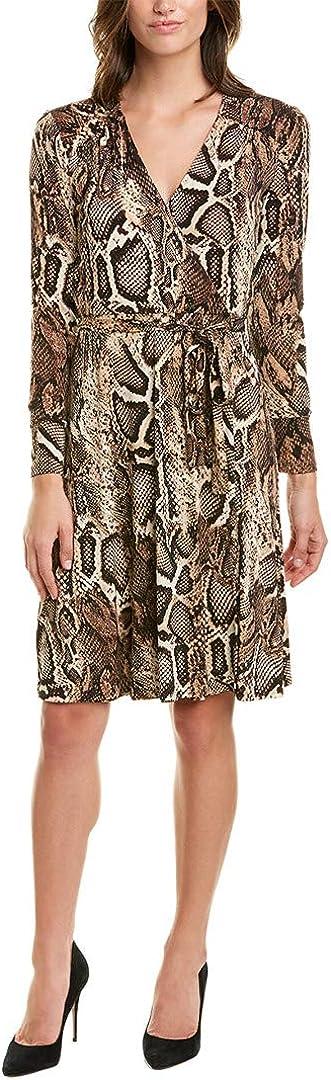 Donna Morgan Women's Long Sleeve Self Tie Snake Print Matte Jersey Dress