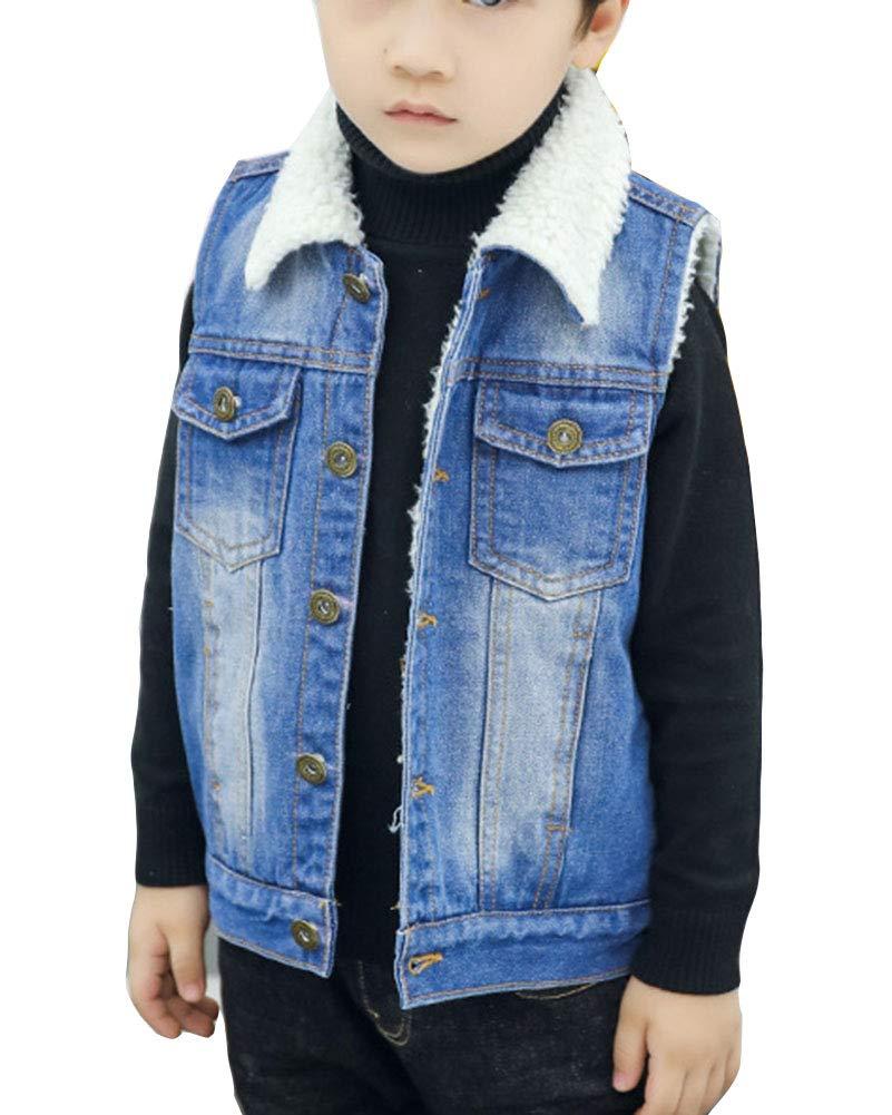 Shaoyao Bambini Ragazzi Gilet Inverno Caldo Cappotto di Jeans Senza Maniche Denim Giacca