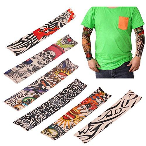 LEMONBEST 6 pcs Nylon Fake Temporary Tattoo Sleeves