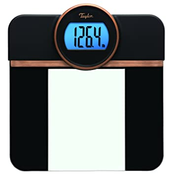 Taylor Precision Products Taylor Glass Blue Backlight Display (Black) Retro Digital Bath Scale