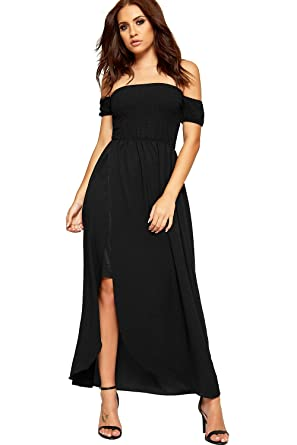 d538b328cf0 WEARALL Womens Badot Off Shoulder Maxi Dress Ladies Shirring Wrapover Split  Stretch New 8-14  Amazon.co.uk  Clothing