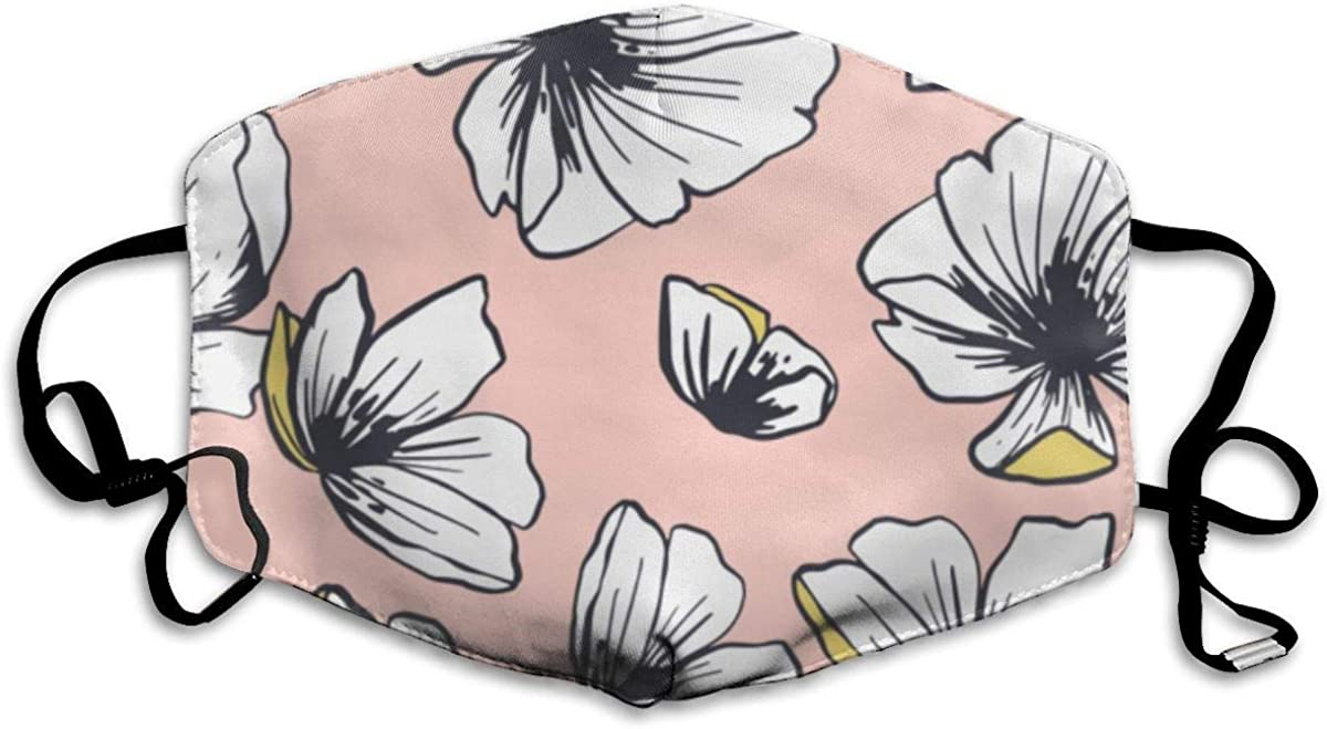 Face Covers White Flowers Pink Pattern Earloop Mouth Covers Adjustable Elastic Strap for Travel Skate Half Face Mouth Cover//Cover Anti Dustproof Face and Nose Cover