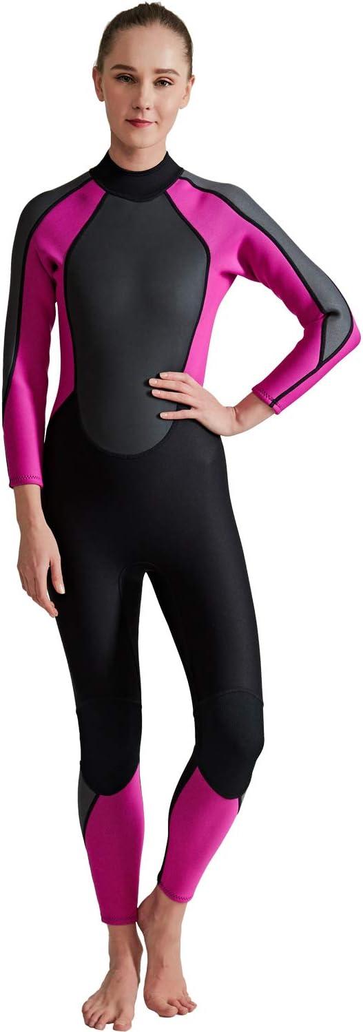 女性の暖かい冬の水泳長袖ワンピース水着を厚く3MMゴムダイビングスーツ,S  Small