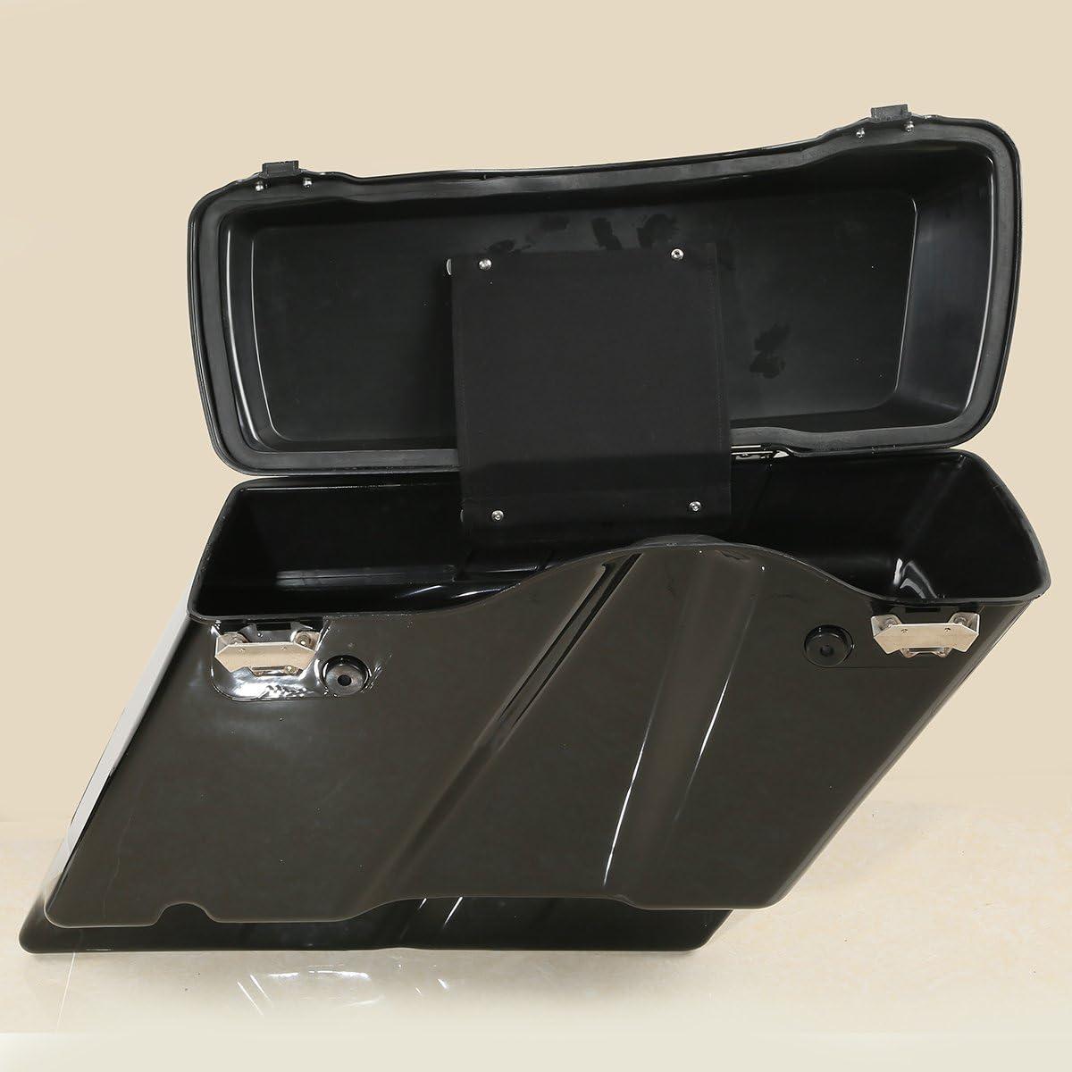 SLMOTO Vivid Black Hard Saddlebag W//Latches Saddle Bags Bag W//BlackConversion Brackets Fit for HARLEY DAVIDSON Softail 84-13