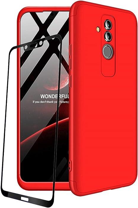 JOYTAG compatibles para Funda Huawei Mate 20 Lite Carcasa +Protectora de película de Vidrio Templado 360 Grados Ultra Delgado 3 en 1 Case-Rojo: Amazon.es: Electrónica