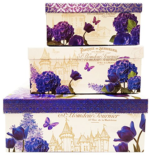 Alef Elegant Decorative Themed Nesting Gift Boxes -3 Boxes- Nesting Boxes Beautifully Themed and Decorated - Perfect for Gifts or Simple Decoration Around the House! (Flowers &Castle)