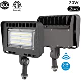 Lightdot 2 Pack 70W LED Outdoor Flood Light with Photocell, 5000K Daylight 8400lm Super Brigh, Dusk to Dawn Knuckle Mount, IP65 Waterproof Security Light for Gardens Yards and Parking Lot