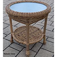 Oakland Living Corporation Premium 22-inch Resin Wicker End Table Tan