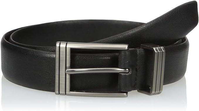 Van Heusen Mens Leather Dress Belt with Engraved Metal Loop