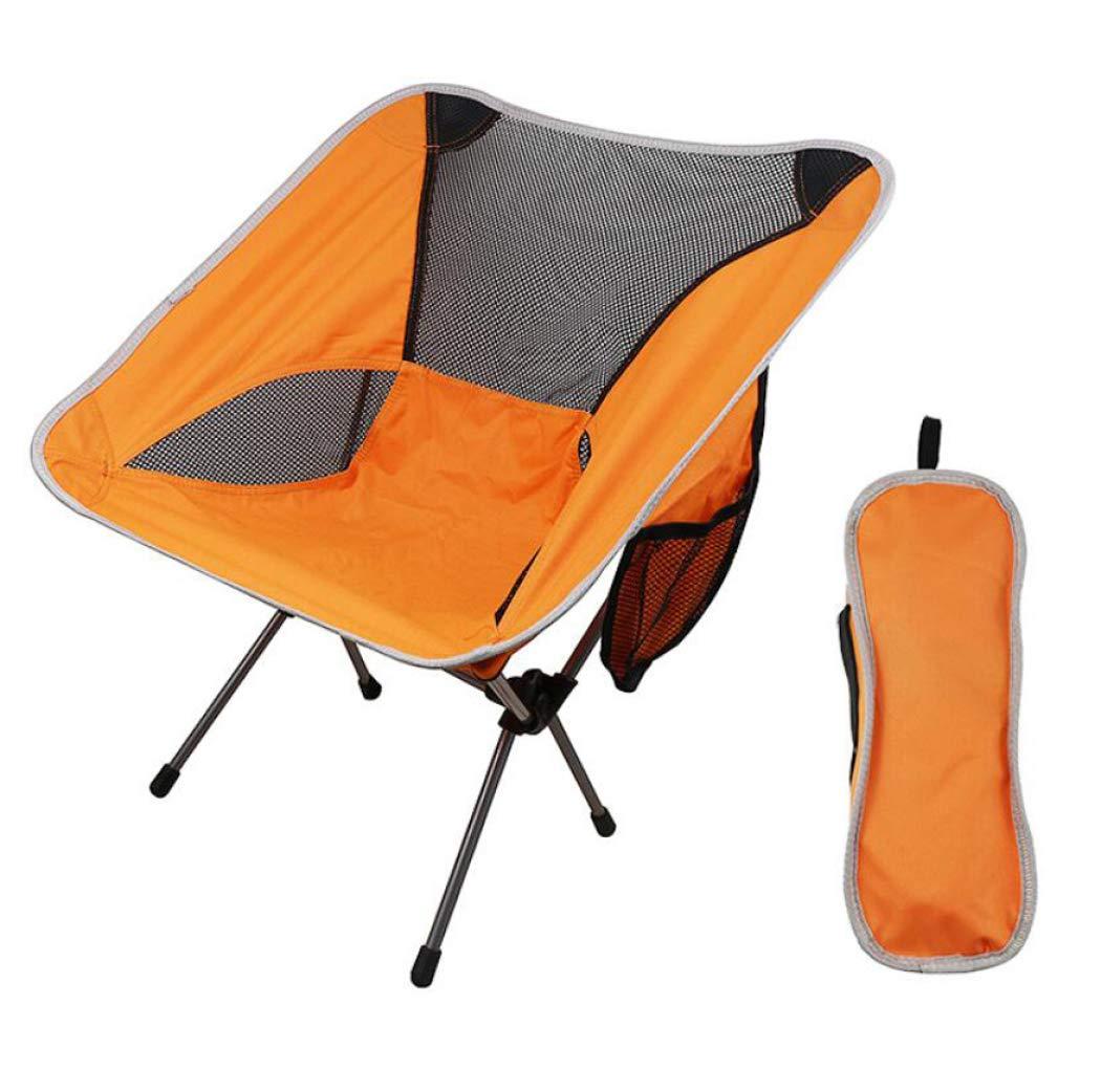 Orange  DPPAN Portatives Chaise de Camping Chaise d'Extérieur, Fauteuil Pliable Confortable Compact Charge Max de 150 kg avec Poche Sac de Transport pour Randonnée Plage,Orange