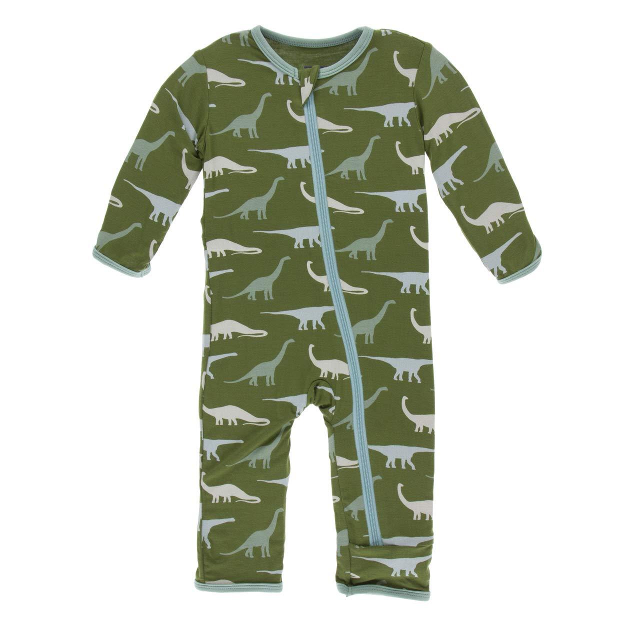 Kickee Pants Little Boys Print Coverall with Zipper - Moss Sauropods, 18-24 Months