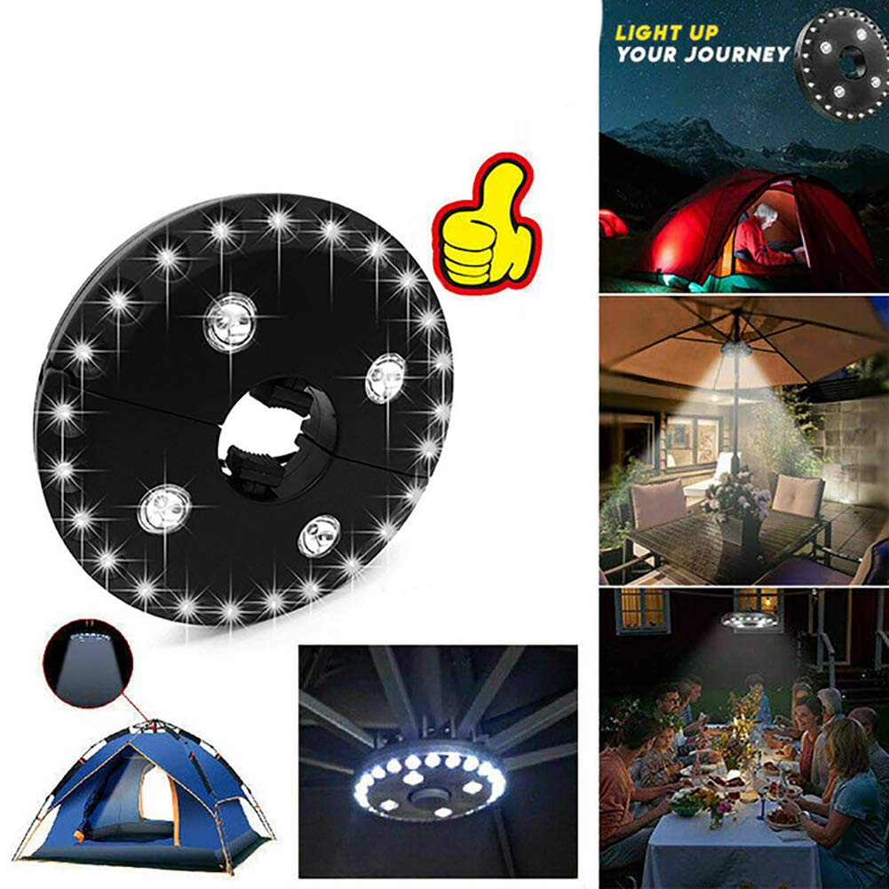 Camping Tents Umbrella Pole Light for Patio Umbrellas Beito 1Pc Portable White Patio Umbrella Lights Cordless 28 LED Lights at 100 lumens- 4 x AA Battery Operated Silver Shell