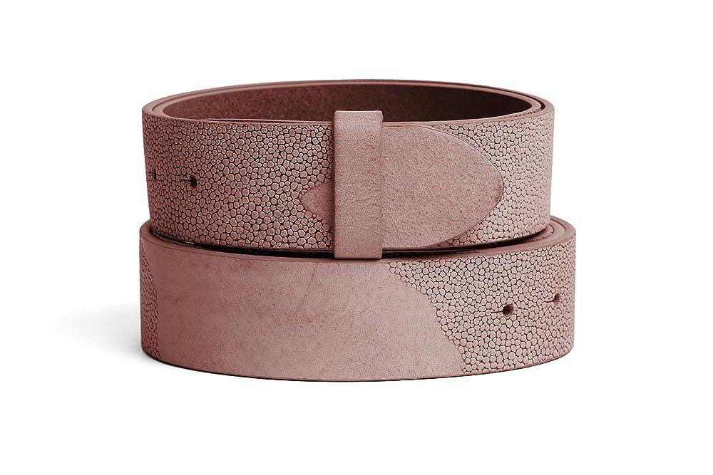 VaModa Belt, Cinturón en piel, modelo Lima, color rosé, sin hebilla