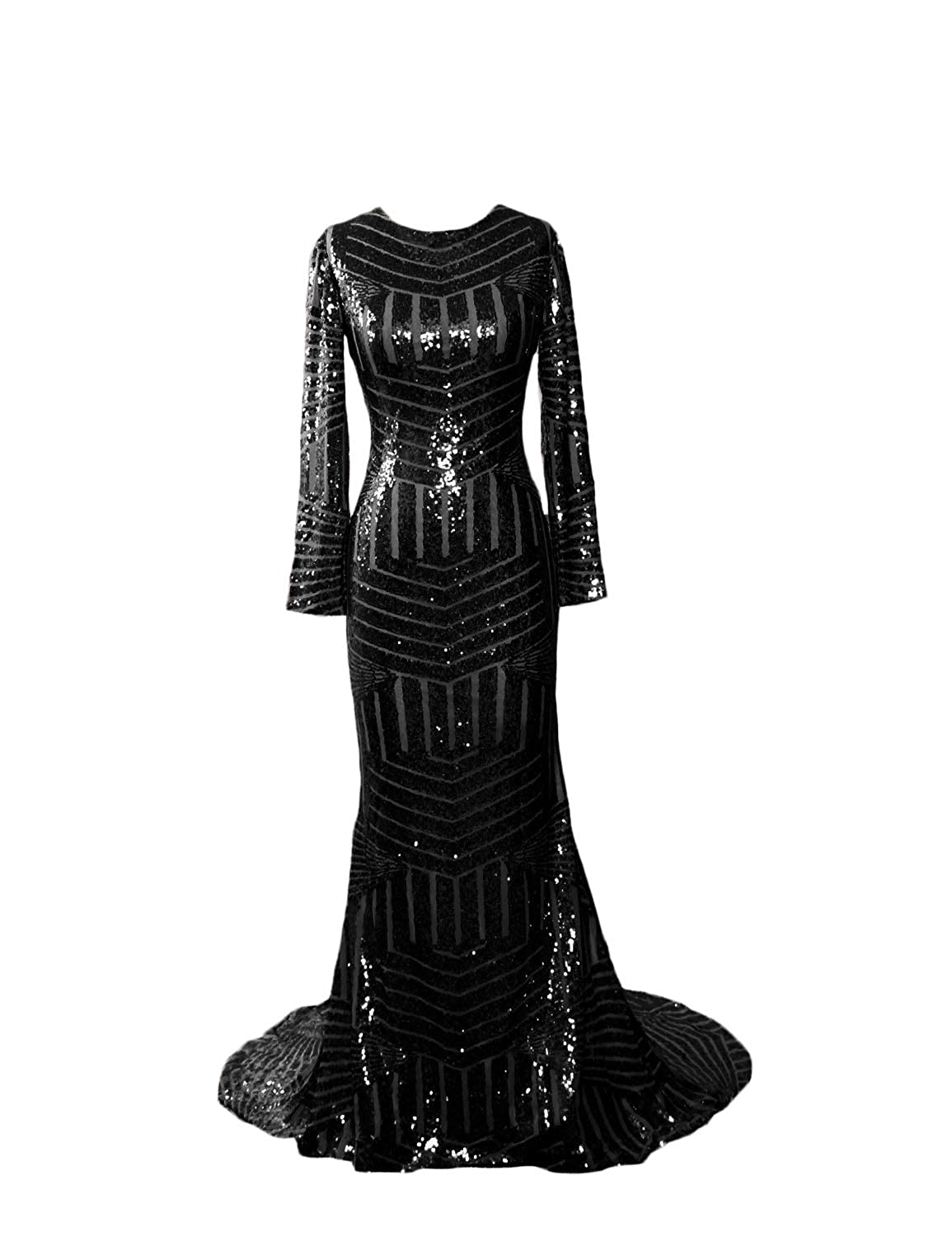 Black D CIRCLEWLD Sequins Mermaid Evening Gowns Long Sleeves Sleeveless for Women Wedding Party E122