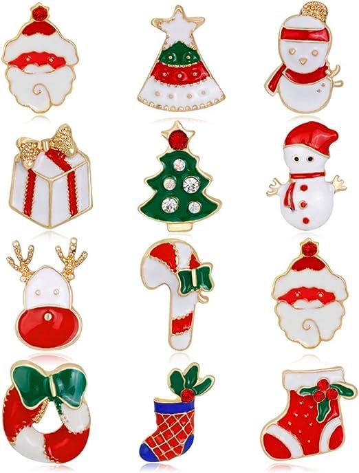 Finance Plan The Latest Shiny Rhinestone Cartoon Christmas Santa Claus Party Brooch Pin Multicolor