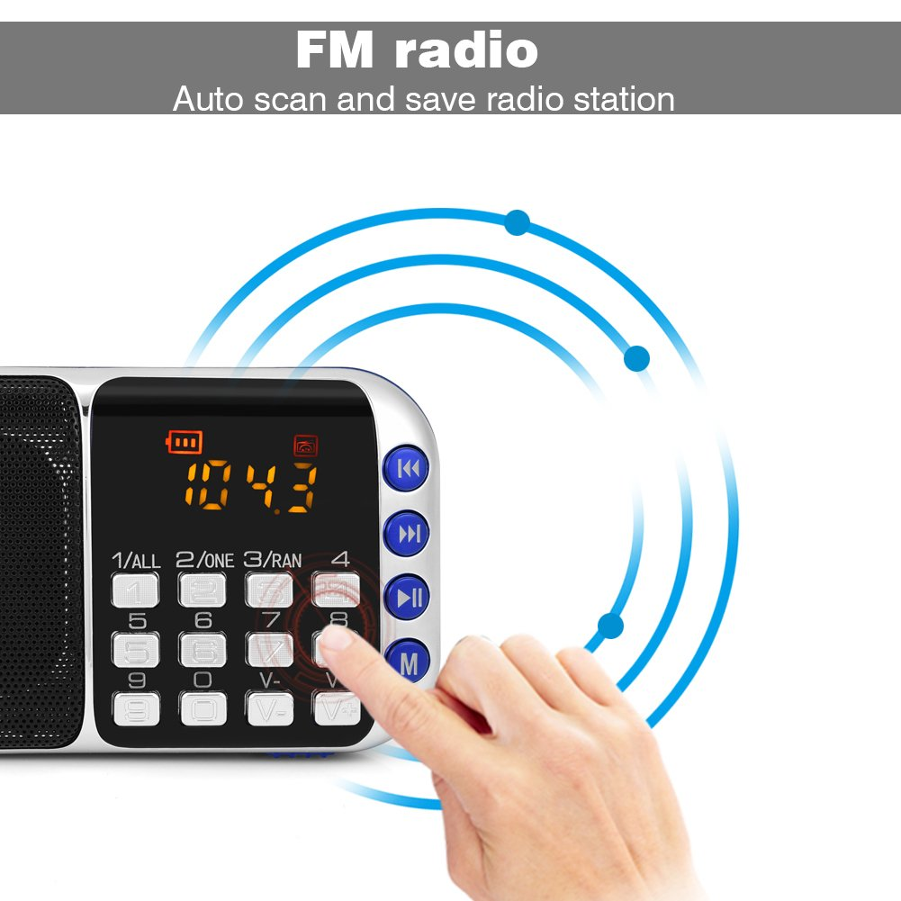 Zerone Portable FM Radio HiFi Stereo Multimedia Speaker Loud Sound Walkman Mp3 Music Player Support Micro SD TF Card USB Disk AUX with LCD Display(Blue) by Zerone (Image #4)