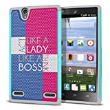 ZTE Lever LTE Z936L Case, Fincibo (TM) Dual Layer Football Skin Hybrid Hard Protector Cover TPU Soft Silicone Shock Absorbent, Act Like Lady Think Like Boss