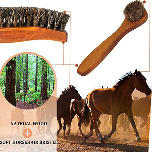Horsehair Shoe Brush Set Multifunctional Shoe Cleaning and Shine Brush Kit for Leather Shoes, Suede and Nubuck Shoes, Car Seat or Leather Furniture by XITANGOU (Image #1)