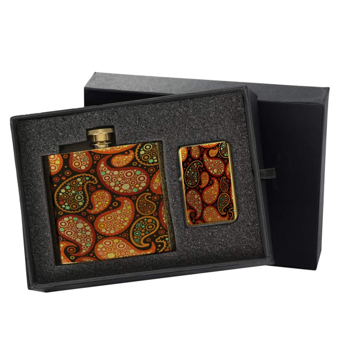 Paisley - Gold Lighter and Pocket Hip Liquor Flask Survival Camping Gift Box Set