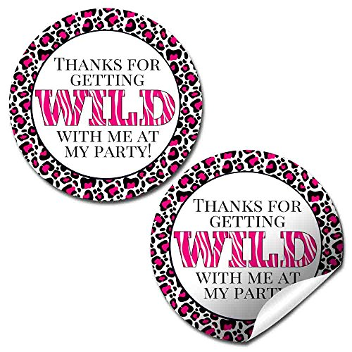 Hot Pink Animal Print Party Thank You Sticker Labels, 40 2