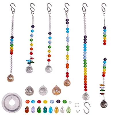 SUNNYCLUE DIY Make 6pack Rainbow Crystal Suncatcher Making Kit Chandelier Crystal Prisms Balls Pendant Hanging Ornament Jewelry Craft Kit for Home Office Garden Wedding Decoration Gift Instruction: Home & Kitchen