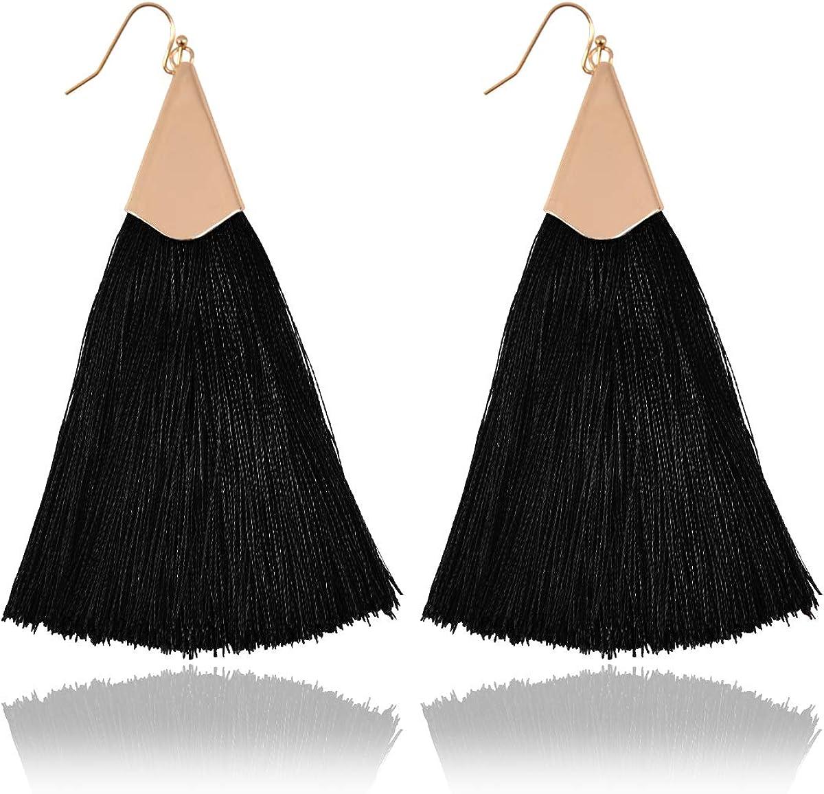 RIAH FASHION Bohemian Silky Thread Tassel Statement Drop Earrings Strand Fringe Lightweight Feather Shape Dangles Chandelier Duster