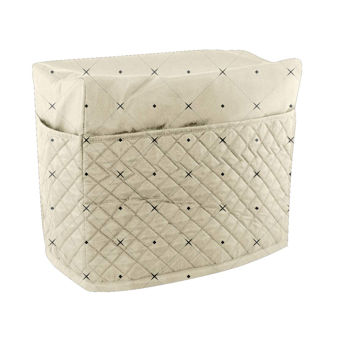 Dust Cover Protector Compatible with Brother and Singer Sewing Machine Quilted Sewing Machine Cover with Pockets Beige Sewing Machine Case Dust Cover
