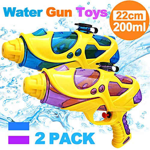 Kids Water Squirt Gun Super Water Pistol High Capacity Water Soaker Blaster Far Range Water Squirt Gun Toys for Kids Boys Girls Indoor Outdoor Swimming Pool Water Fighting Toy Party Favors(2 Pack)