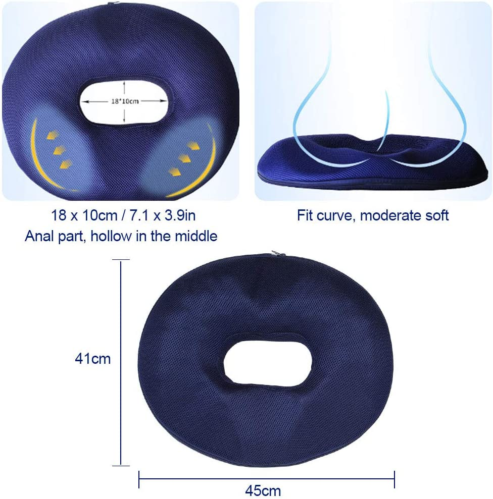 Comfortable Seat Cushion with Hole in Middle Donut Pillow Breathable Cover Buttocks Push Up Anti Hemorrhoid Hip Pad Donut Cushion for Home Office Chair Pain Relief