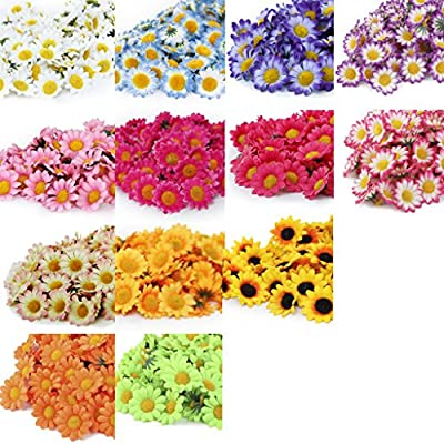 100x Artificial Gerbera Daisy Flowers Heads for DIY Wedding Party (Dark Pink)