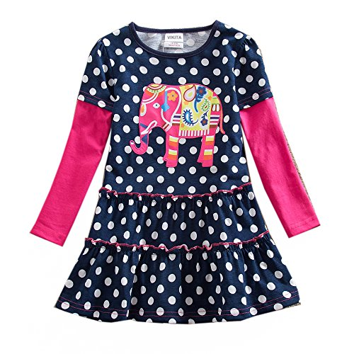 VIKITA toddler Elephant girl dress cotton long sleeve navy baby girls winter dresses LH605BORLAND 5-6 (Child Dress Online)