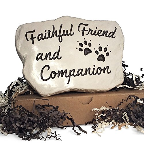 Faithful Friend and Companion - Engraved and Cast in a heavy little 3 LB stone (Dog Paw Prints) (Hillside Gardens)