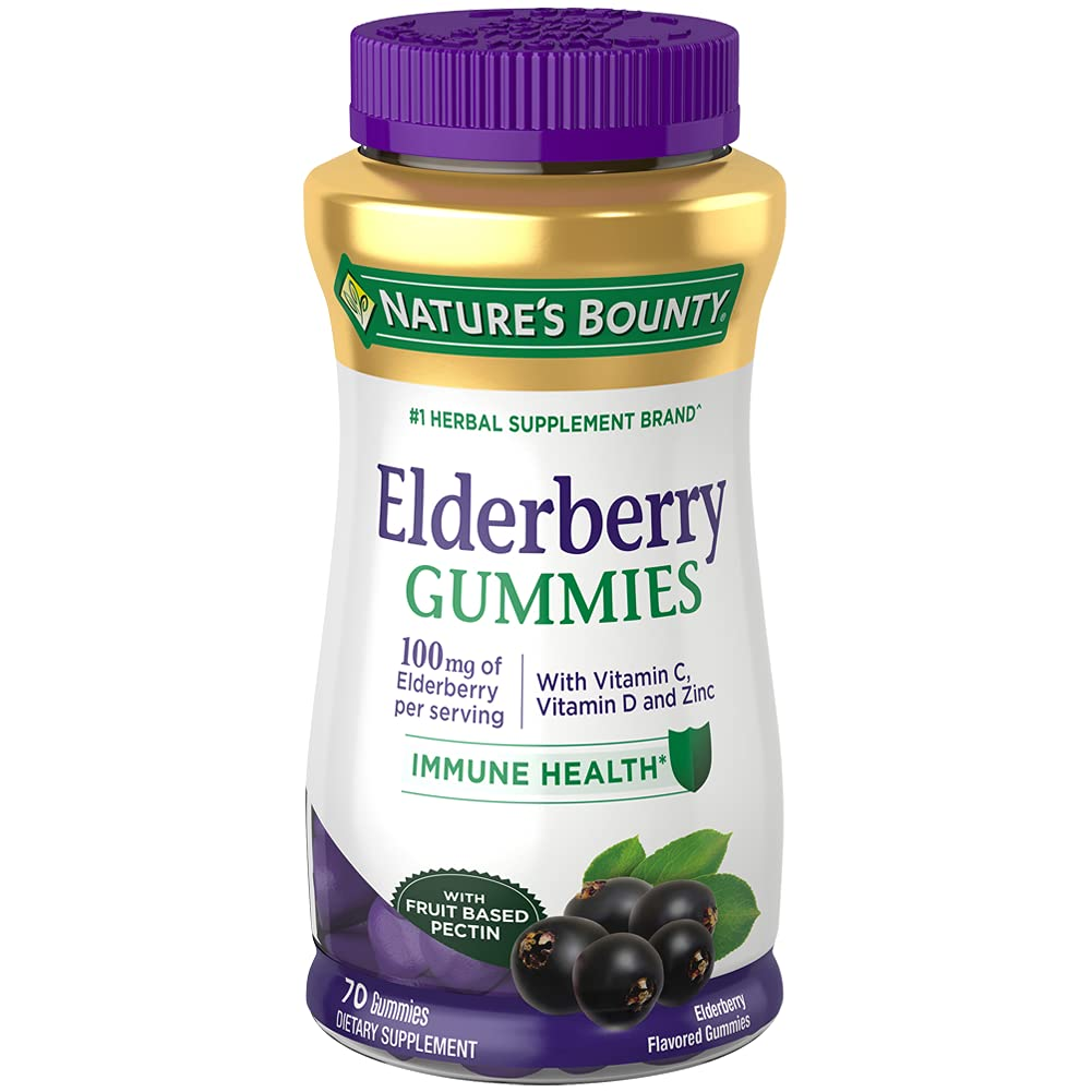 Elderberry Gummies by Nature's Bounty, Dietary Supplement, Supports Immune Health, Contains Vitamin A, C, D, E and Zinc, 100 mg, 70 Gummies