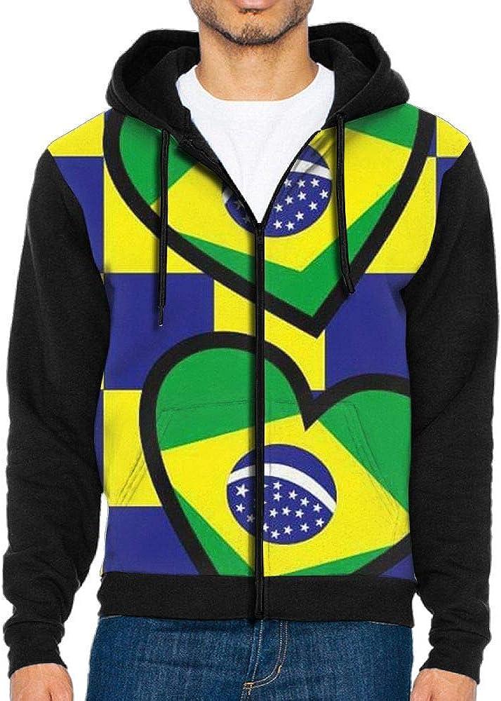 LB.KLV Brazil Flag Mens Full-Zip Hooded Fleece Sweatshirt