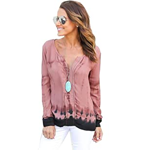 Gillberry Women Casual Long Sleeve Polyester Blouse Loose Shirt Blouse Tops (L, Pink)