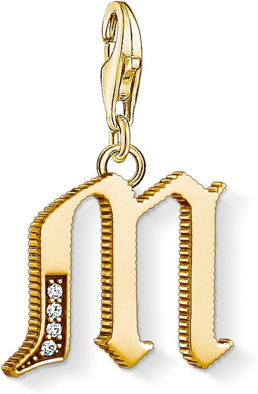 Thomas Sabo Unisexe Pendentif Charm Lettre M Or Argent Sterling 925 ; Plaqu/é Or Jaune 18 Carats 1619-414-39